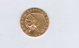 USA 1912 GOLD TWO & HALF DOLLAR IN EXTREMELY FINE CONDITION