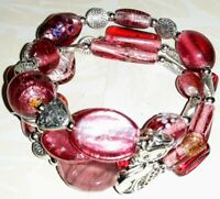 Memory Wire Bracelet with Pink & Silver Glass Beads  Charm on ends FREE SHIPPING