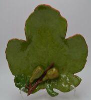 Vintage Majolica Fig Leaf Dish w/ Fruit Marked L