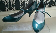 Office Teal Blue Patent Leather Buckle Heeled Mary Jane Beckley Bar Shoes UK 6