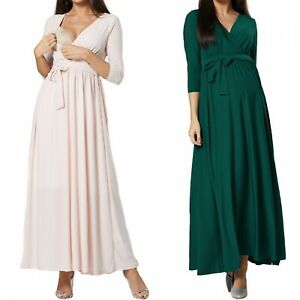ZETA VILLE Women's Maternity Nursing Wedding Bridesmaids Maxi Length Dress 1197