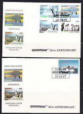 Mongolia 1997 Greenpeace Penguins 4v + value from  m/s 2 FDC