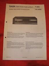 Serviceanleitung Schaltplan SABA Service-Instruktion Twin Cassette Deck DC-2030