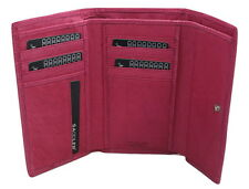 Saddler Leather TriFold Purse Wallet 11 CC Holder Fuchsia Pink