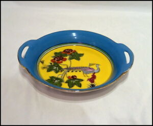 Noritake Art Deco 2 Handled Bowl with Peacock and Floral Design Gold Trim N353