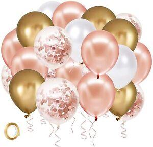 """60 Globos De Metalicos Dorados Oro y Rosa Cromados 12"""" Para Cumpleaños Fiestas"""