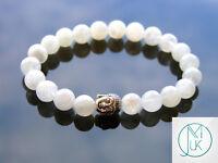 Buddha Moonstone Natural Gemstone Bracelet 6-9'' Elasticated Healing Stone Reiki