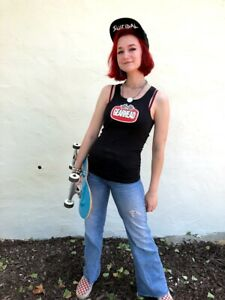 Gearhead Brand Logo Womens Tank Top Black Custom Hot Rod Ribbed Fitted Punk Rock