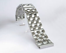 NEW 22mm Brushed Solid Link 316L Stainless Steel Watch Bracelet Butterfly Buckle