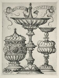 Hieronymus Hopfer. Three Designs for Cups. Photogravure after etching. 1907.
