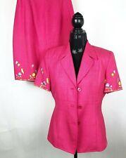 Amanda Smith Size 8 Suit Skirt Blazer Jacket Short Sleeve 2 piece Pink Vintage