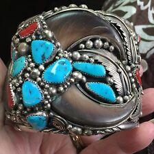 Vintage Navajo Faux Bear Claw Sterling Cuff Bracelet Jackie Singer B/O Tommy