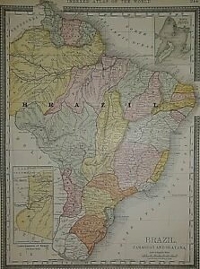 Old Authentic Antique 1881 Map ~ BRAZIL - BRITISH, DUTCH & FRENCH GUAYANA