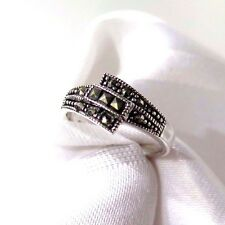 925 STERLING SILVER MARCASITE THREE SQUARE  RING SIZE 8