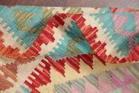 PASTEL Color Geometric South-West Kilim Turkish Oriental Area Rug Flat-Woven 3x5