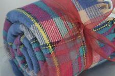 Wool Throw Unusual Tartan Plaid Blue Aqua Rose Beige Fringed Ends