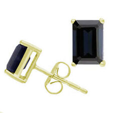Earrings Sapphire 9ct Gold Emerald Cut Claw Set Stud Earrings