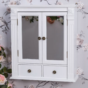 White Wooden Mirrored Bathroom Wall Cabinet Vintage Chic Cupboard Storage Unit