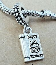 Happy Birthday Card Make Wish Candles European Dangle Bead Charm - Gift for Her