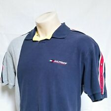 VTG 90s Tommy Hilfiger Athletics Polo Shirt Colorblock Racing Rugby Lotus Large