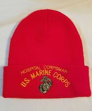 42db0ec33618bb US MARINE CORPS USMC HOSPITAL CORPSMAN BEANIE CAP HAT RED M
