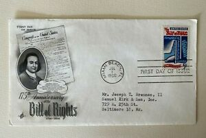 1966 First Day of Issue 175th Anniversary of Bill of Rights envelope UNSEALED
