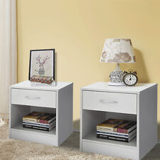 Set of 2 Night Stand 2 Layer W/Drawer Bedside End Table Organizer Bedroom White
