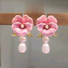LES NEREIDES  PINK PANSY AND BAROQUE FRESWATER PEARL STUD EARRINGS