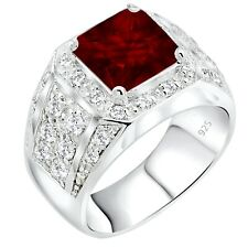 Men's Real Sterling Silver .925 Red Syn Ruby CZ Ring Sizes 6-14 w/Gift Box