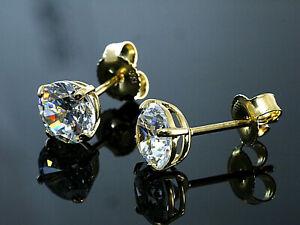 333 Gold  Ohrstecker  mit 4 Krappen 1 Paar 6 mm Grösse mit  Zirkonia Steinen