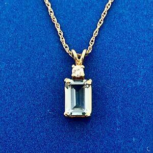 14K Yellow Gold Aquamarine Diamond Accent March Anniversary Pendant Necklace