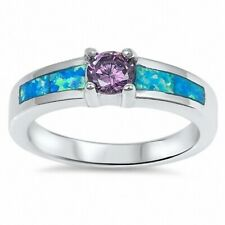 Solitaire Wedding Engagement Ring 925 Sterling Silver 0.44CT Amethyst Blue Opal
