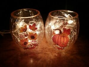 Stone Creek Set Of Fall Crackle Glass Lamps, Pumpkins/sunflower/leaves