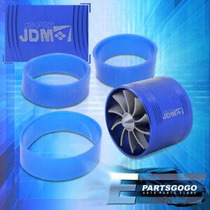 Blue Turbonator Turbo Short Cold Air Intake Fuel Gas Saver Single Fan For Nissan