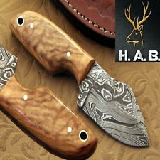 "HAB  Custom Forged Full Tang2.75""Fixed Blade Damascus steel Hunting Knife QN-401"