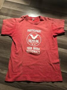 VINTAGE 1966 NHRA NATIONALS VALVOLINE RACING OIL RED T-SHIRT-SIZE M-USED
