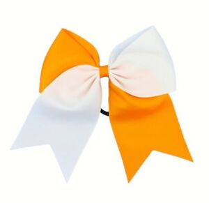 8 Inch Two-Tone Colors Cheer Hair Bow with Elastic Band PonyTail Cheerleading