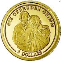 5 Dollars Nauru - Die Gebrüder Grimm 2008 Gold PP