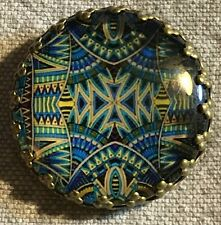 "Glass Dome Metal Base Blue Multi-color Shank Button Just Over 1"" 26mm 8611"