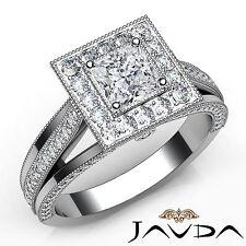 Pave Set Princess Diamond Halo Engagement Ring GIA F VVS2 Platinum 950 1.61Ct