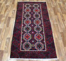 Hand Made Traditional Persian Rug Oriental Wool Red Blue Rug  200 x 110 cm