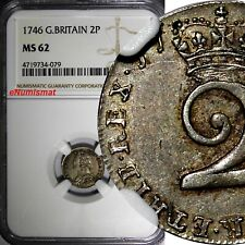 Great Britain George II Silver 1746 2 Pence Maundy NGC MS62 KM# 568