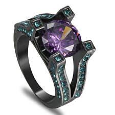 Size 8 Purple Amethyst CZ Wedding RingBlack Rhodium Plated Women's Jewelry