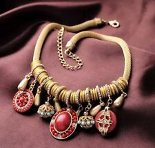 GOLD TONE SNAKE CHAIN WITH RED BEAD CHARMS & DIAMANTE CRYSTAL RINGS NECKLACE