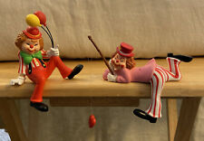 2 Vintage Enesco Shelf Sitting Clowns Figurines Balloons Fishing Heart - Cute!