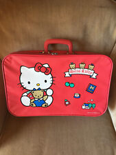 Vintage Sanrio HELLO KITTY Red with Teddy Bear SUITCASE 1991