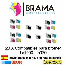 20 x compatibles Brother Non-oem para Lc970 Lc1000 DCP-770CW MFC-240C MFC-440CN
