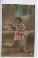 (N59) RP of Child of Glamour with Flowers 1918 - Postally Unused Creased Corner