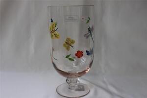 STICLA HAND PAINTED GLASS PEDESTAL HURRICANE CANDLE HOLDER-DRAGONFLY/BUTTERFLIES