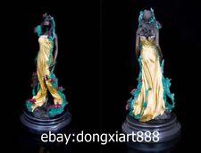 32CM West Art Deco Bronze Painted Women Girl Belle maiden Flower Fairy Sculpture